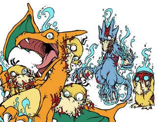 Zombemon #005/006: Zombie Psyduck/Golduck by GenghisKrahn