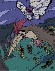 Zombemon #009/010: Zombie Caterpie/Butterfree by GenghisKrahn