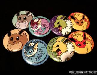 Eeveelution buttons/magnets. by GenghisKrahn