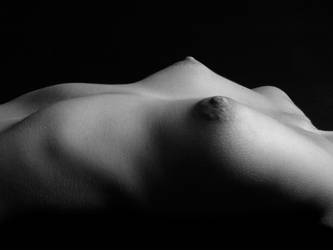 0275 BW Nude Landscape of Small Breasted Woman by artonline