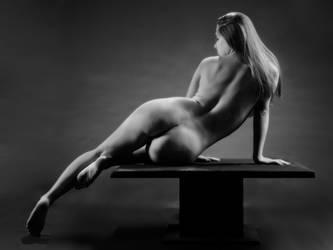 1239-JEM Beautiful Woman Black White Rear View by artonline