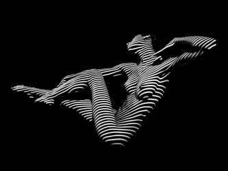 0043-DJA BW Zebra Striped Nude Woman Abstract Art by artonline