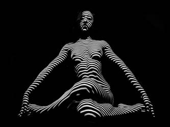 0239-DJA Nude Young Woman BW Zebra Stripe Abstract by artonline