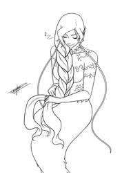 Phile tying a braid by KayameYuri
