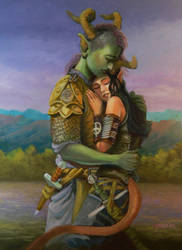 Tiefling Couple Painting by MatsyaDas