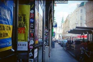 Wien in Holga 135BC: The Street in the Summer by neuroplasticcreative