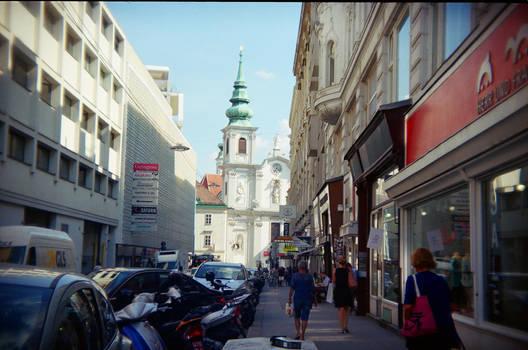 Wien in Holga 135BC: Mariahilferstrasse by neuroplasticcreative
