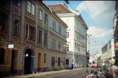 Wien in Holga 135BC: Tram by neuroplasticcreative