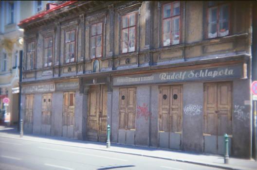 Wien in Holga 135BC: Der Pferdefleischhauer by neuroplasticcreative