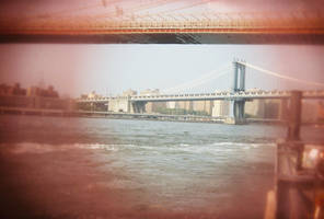 Brooklyn in Color: Red Eyes and Bridge by neuroplasticcreative