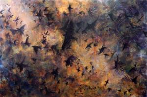 Birds, 2013, Mixed Media, 36x48 by LizLindsay