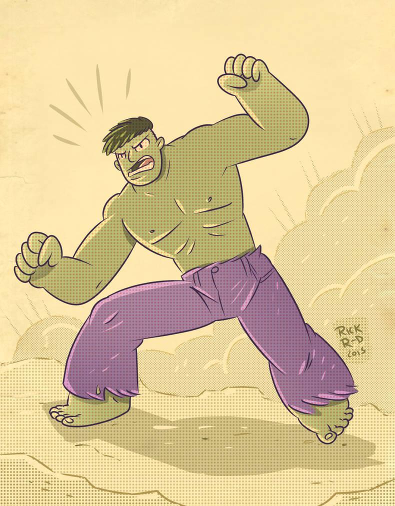 The retro Incredible Hulk by rickruizdana