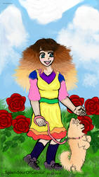 03-02-2018-Anime girl with dog smelling the roses- by SplendourOfColour