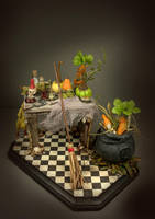 OOAK Creepy Mandrake Table by veronabarrella