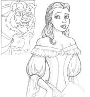 Belle and Beast sketches by isolde