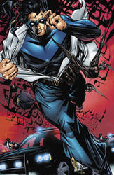 Nightwing 'rip-shirt' Pin Up by MikeLilly
