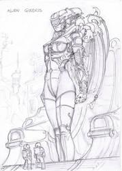 Alien Goddess sketch by Samael1103