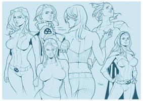 X-men Girls Sketch by taguiar