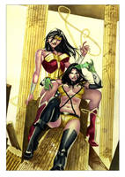 Wonder Woman and Phanton Lady Commission by taguiar