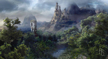 Mountainside Castle by aaronsimscompany