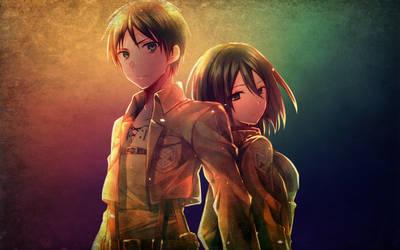 Shingeki no Kyojin Eren and Mikasa by oidoperfecto