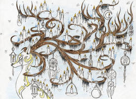 My dream(1) - DeerTree's candles (Sketch) by farahin001