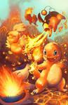 pokemon fire starters by michellescribbles