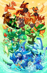 fakemon starters commission by michellescribbles
