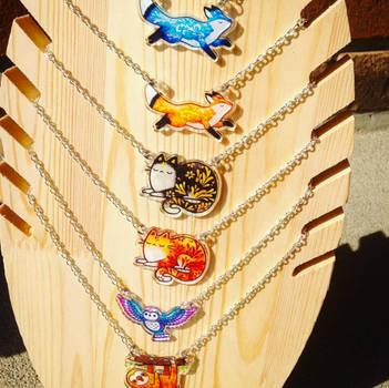 Cute Animal Pendants: Fox, Owl, Sloth, Cat by michellescribbles