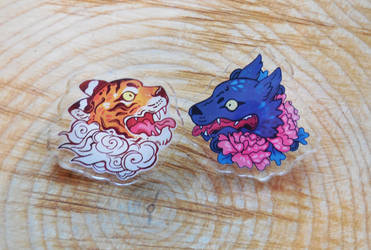 tiger and wolf pins brooches by michellescribbles