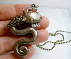 Metal Dragon Necklace by Brisbykins