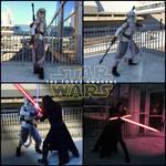 Star Wars Scavenger Rey and Battle Damage Kylo Ren by AmmieChan