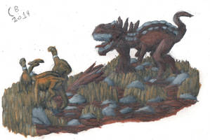TODS: Majungasaurus and its Prey by GeneralHelghast