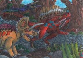 TODS: Triceratops VS Spinosaurus by GeneralHelghast