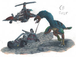 TODS: Gigantoraptor Chase by GeneralHelghast