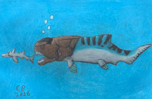 Dukleosteus Chasing A Shark by GeneralHelghast