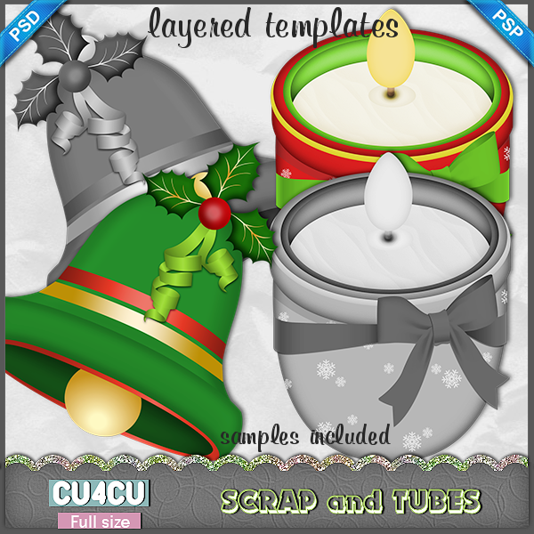 Candle and Bell Template by ZaZaScrapAndTubes