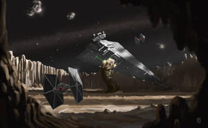 The Exogorth attacks a Star Destroyer by JoanRedondo