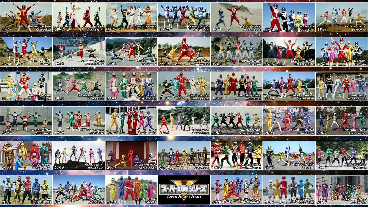 The 41 Super Sentai Teams by nobuharuudou