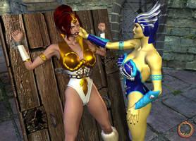 Evil-Lyn taunts Teela by Uroboros-Art
