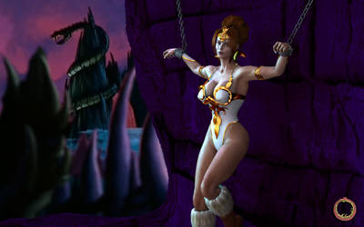 Teela shackled at Snake Mountain. by Uroboros-Art