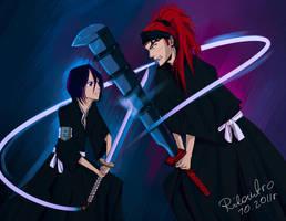 Rukia and Renji by Rilantro