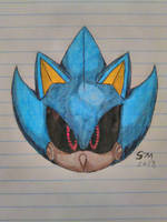 Metal sonic (colord ink pen and pencil shading) by SpringtraP-MasK