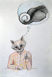 Cat thinking of inspiration by pagone