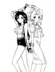 Tifa and Aeris by popejohnfreddxiii