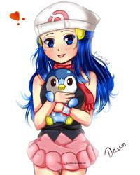 Pokemon DP: Dawn and Pinplup by KoyukiMori