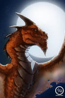 Dragon under the moon by tranenlarm