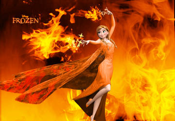 Wallpaper - Frozen - Anna the Fire Princess by LordBlackTiger666