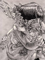 Faerie Rose Pencil Portrait by DragonPress