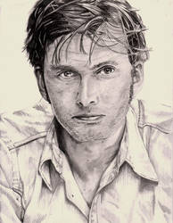 Dr Who Tennant Pencil Portrait by DragonPress